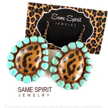 EARRINGS - Original Largest Sugarite (leopard and turquoise)