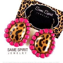 EARRINGS - ORIGINAL SUGARITE - (leopard and magenta)