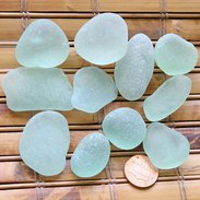 large seafoam green sea glass pieces from England