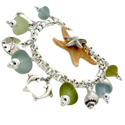 green and gray sea glass bracelet