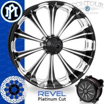 Performance Machine Revel Contour Platinum Cut Custom Motorcycle Wheel