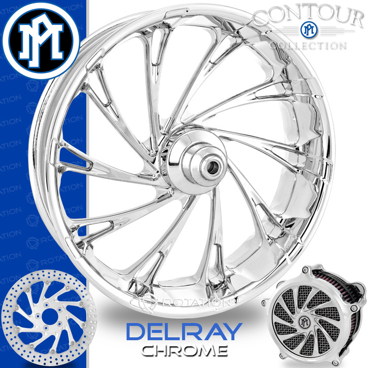 Performance Machine Delray Contour Chrome Custom Motorcycle Wheel