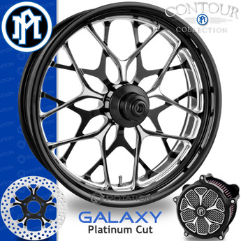 Performance Machine Galaxy Platinum Cut Custom Motorcycle Wheel
