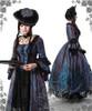 Model Show (dark blue jacquard polyester) (hat P00574, gloves P00581, fan P00580, choker AD00581)