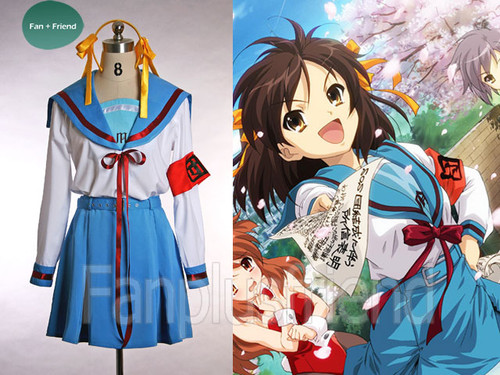 Special Offer: The Melancholy of Haruhi Suzumiya Cosplay, Haruhi Suzumiya School Uniform Set*Lady 65 Instant Shipping