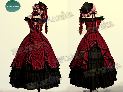 Black Butler / Kuroshitsuji Cosplay, Ciel Phantomhive Dance Ball Dress Maxi Skirt Costume Set* Burgundy, Black, Brown, Lilac