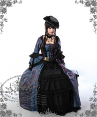 Model Show (dark blue jacquard polyester) (hat P00574, gloves P00581, fan P00580, choker AD00581)