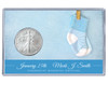 New Baby Silver Eagle Acrylic Display - Blue Socks