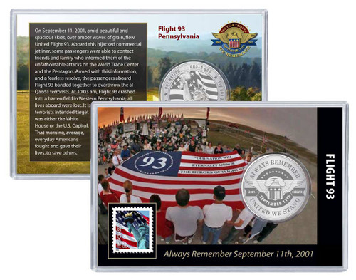 Always Remember 9/11 Flight 93 Challenge Coin and Stamp Set