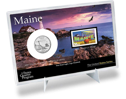 Maine State Quarter & Stamp Set