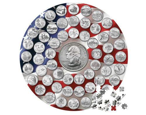 500 Piece Two-Sided State Quarter Puzzle