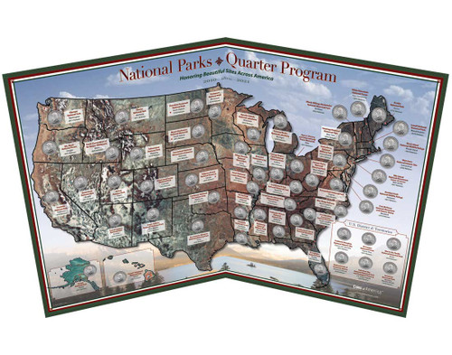 National Parks 56 Quarter Map