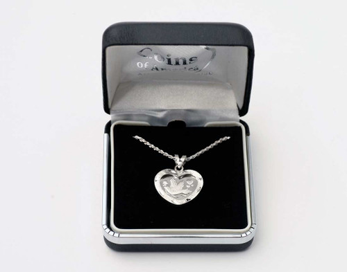 Silver Heart Dove Necklace