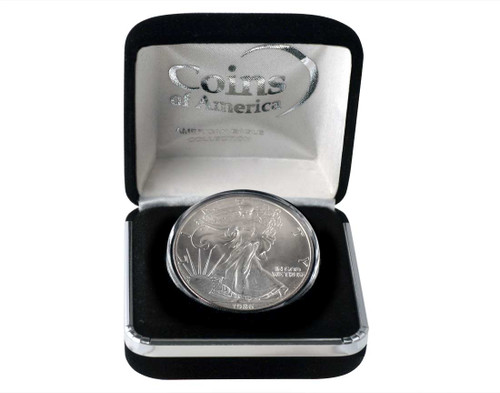 1986 Silver Eagle In Velvet Box