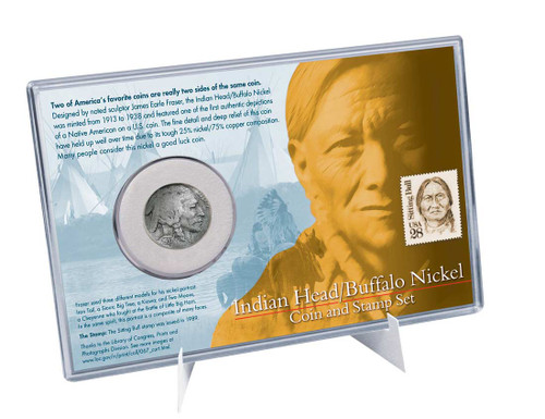 Indian Head/Buffalo Nickel Coin And Stamp