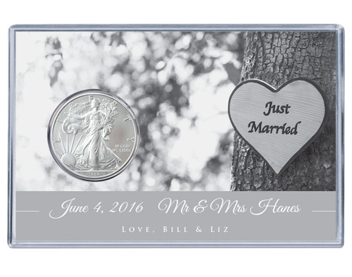 Wedding Silver Eagle Acrylic Display - Just Married