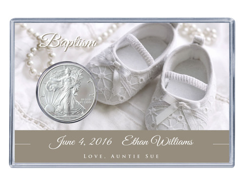 Baptism Silver Eagle Acrylic Display - White