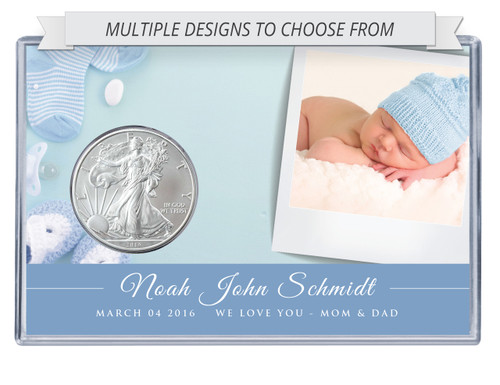 Custom Photo Silver Eagle Acrylic Display - New Baby
