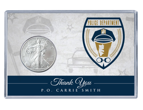 Police Officer Silver Eagle Acrylic Display
