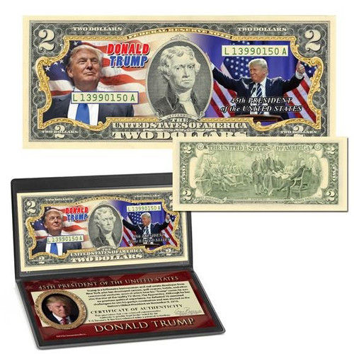 Donald Trump 45th President Colorized $2 Bill