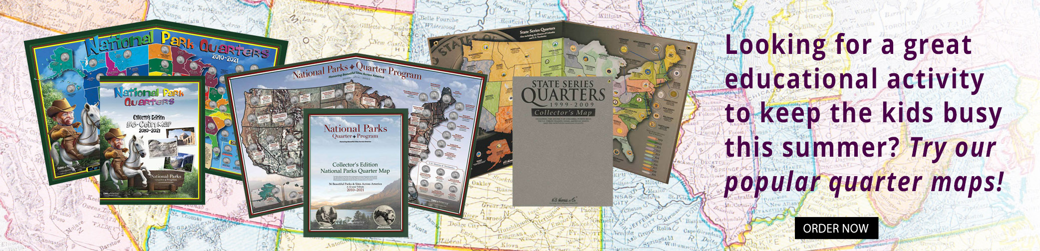 State and National Park Quarter Collectors Maps