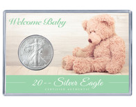 Welcome Baby Silver Eagle Acrylic Display