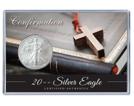 Confirmation Silver Eagle Acrylic Display - Small Cross