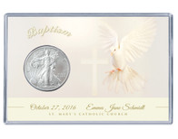 Baptism Silver Eagle Acrylic Display - Dove