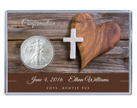 Confirmation Silver Eagle Acrylic Display - Heart