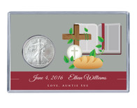 Communion Silver Eagle Acrylic Display - Red