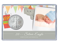 Custom Photo Silver Eagle Acrylic Display - Children's Birthday