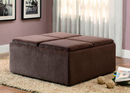 Homelegance Kaitlyn Four-Tray Storage Cocktail Ottoman in Champagne Microfiber