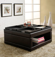 Homelegance Fleming Four-Tray Cocktail Ottoman in Brown Faux Leather