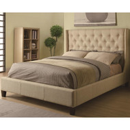 Coaster Tan Upholstered Bed Image 1
