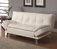 Coaster Dilleston Contemporary Futon Sleeper Sofa in White Image 1