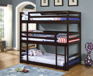 Coaster Mythos Triple Layer Bunk Bed with Cappuccino Finish