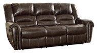 Homelegance Center Hill Brown Double Reclining Sofa Image 1