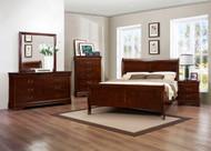 Homelegance Mayville 4-Piece Upholstered Bedroom Set in Cherry Image 1