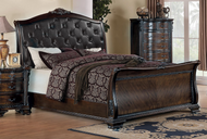 Coaster Maddison Collection Upholstered Sleigh Bed in Deep Cherry