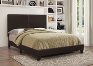 Coaster Mauve Faux Leather Upholstered Queen Platform Bed in Dark Brown