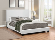 Coaster Mauve Faux Leather Upholstered Queen Platform Bed in White