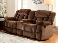Homelegance Laurelton Dual Reclining Loveseat With Console In Chocolate Plush Microfiber
