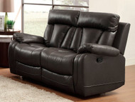 Homelegance Ackerman Collection Dual Reclining Loveseat in Black Leather