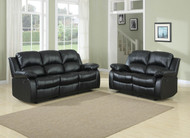 Homelegance Cranley Double Reclining Black Leather Sofa and Loveseat Set