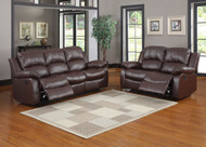 Homelegance Cranley Double Reclining Brown Leather Sofa and Loveseat Set