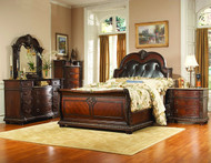 Homelegance Palace Collection 4 Piece Sleigh Bedroom Set in Rich Brown