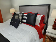 Fashion Bed Group Normandy Upholstered Headboard in Steel Gray/Distressed Charcoal