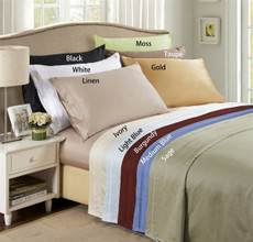Lido Collection - 600 Thread Count Egyptian Cotton Queen Bed Sheets  Solid