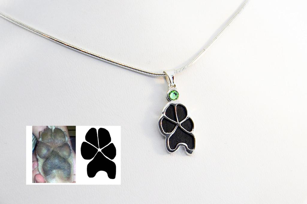Custom Single Paw Pendant with Crystal