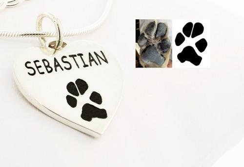 Custom Paw Heart Pendant